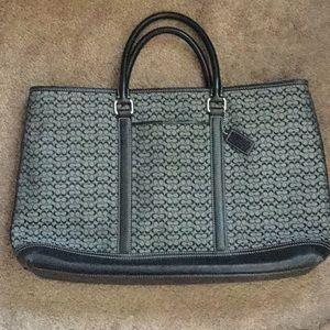 Vintage Coach Fabric and Leather Tote/Brief Case